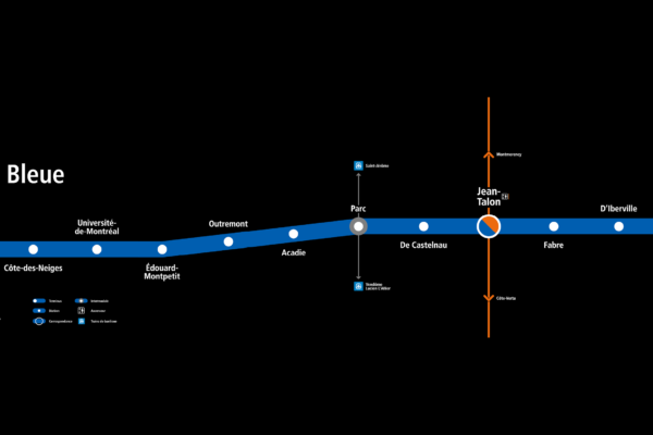 Montréal Subway blue line map