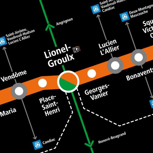 Montréal Subway orange line, detail